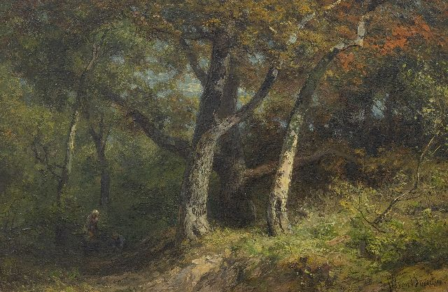 Jan Willem van Borselen | Wood gatherers on a forest track, oil on panel, 27.8 x 42.0 cm, signed l.r.