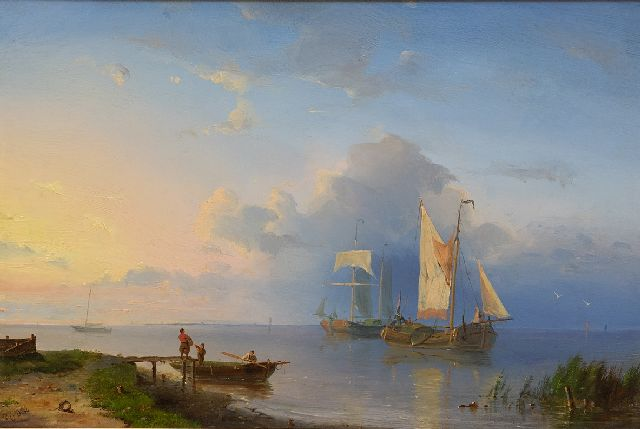 Pieter Cornelis Dommershuijzen | A river landscape with sailing vessels at sunrise, oil on panel, 22.0 x 32.6 cm, signed l.l. with initials and dated '54