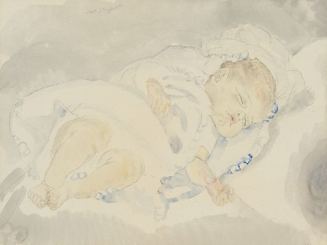 Sluijters J.C.B.  | Sleeping baby, pencil and watercolour on paper 46.5 x 58.5 cm, signed u.l.