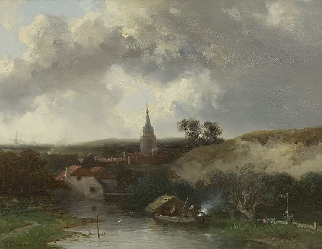 Salomon Verveer | A village in the dunes, oil on panel, 19.7 x 25.3 cm, signed l.l. and painted ca. 1857-1860