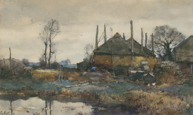 Chris van der Windt | A farm on the waterfront, watercolour and gouache on paper, 42.3 x 70.2 cm, signed l.l. and painted 1906
