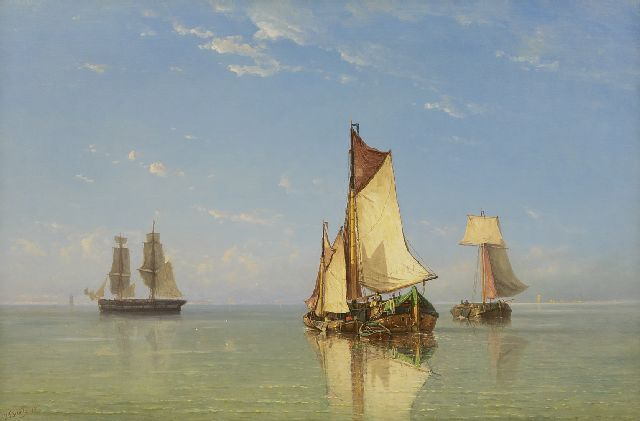 Jan Frederik Schütz | Ships on calm water, oil on canvas, 70.1 x 104.9 cm, signed l.l. and dated '78