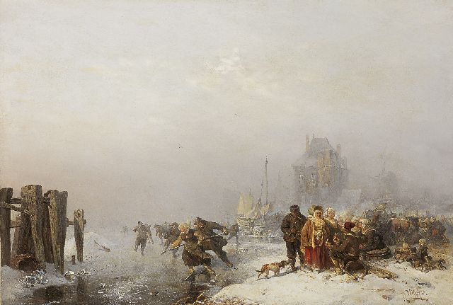 Carl Hilgers | Skaters on the ice in a winter landscape, oil on canvas, 48.7 x 65.9 cm, signed l.r. and dated 1886 on reverse