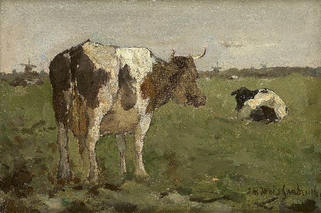 Jan Hendrik Weissenbruch | Cows in a polder landscape, oil on canvas laid down on panel, 14.0 x 20.5 cm, signed l.r.