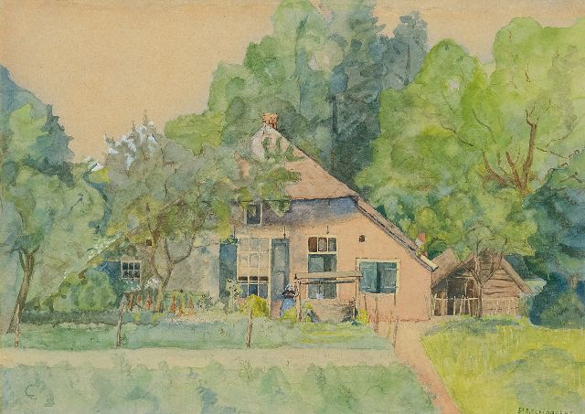 Schipperus P.A.  | A cottage garden in the woods, watercolour on paper 21.2 x 30.4 cm, signed l.r.