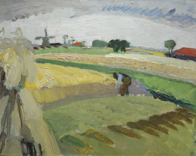 Gustave De Smet | A farmer working on the land, oil on board, 40.1 x 50.4 cm