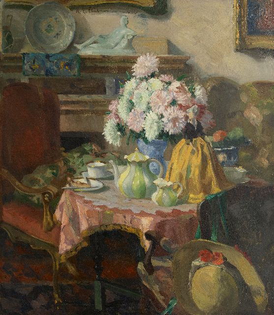 Stübner R.E.  | Afternoon tea, oil on canvas 95.0 x 85.0 cm, signed u.c.l.
