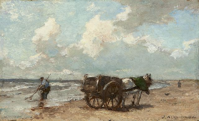 Johannes Evert Hendrik Akkeringa | Shell fishing along the coast, oil on panel, 14.6 x 23.8 cm, signed l.r.