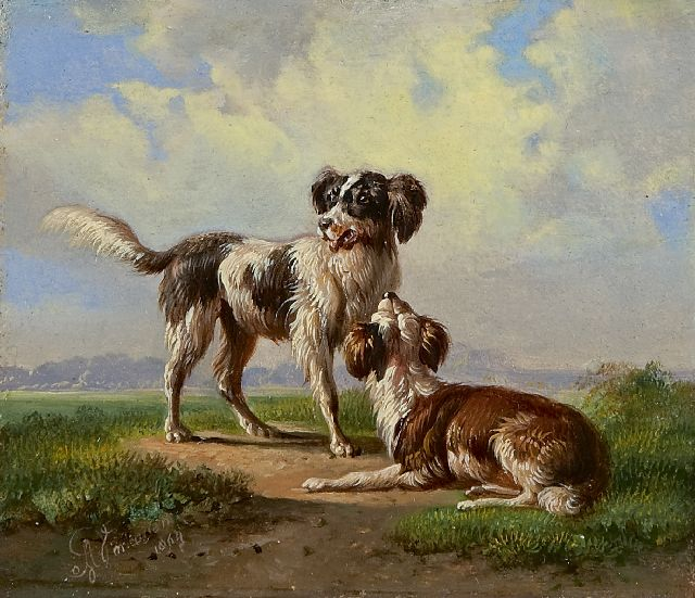 Albertus Verhoesen | Two hounds in a landscape, oil on panel, 10.8 x 12.4 cm, signed l.l. and dated 1864