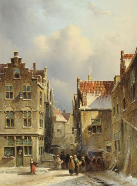 Petrus Gerardus Vertin | A Dutch streetscene, in winter, oil on panel, 32.9 x 24.7 cm, signed l.r. and dated '56