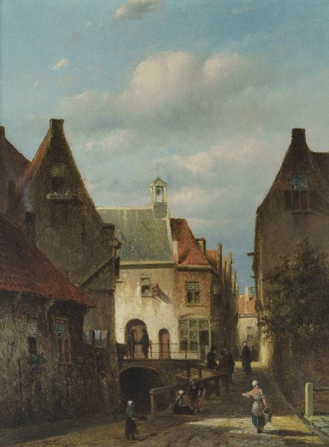 Petrus Gerardus Vertin | A view of the 'Zakkendragershuisje' and the 'Achterwater' in Delfshaven, Rotterdam, oil on panel, 33.7 x 24.7 cm, signed l.l. and dated '56