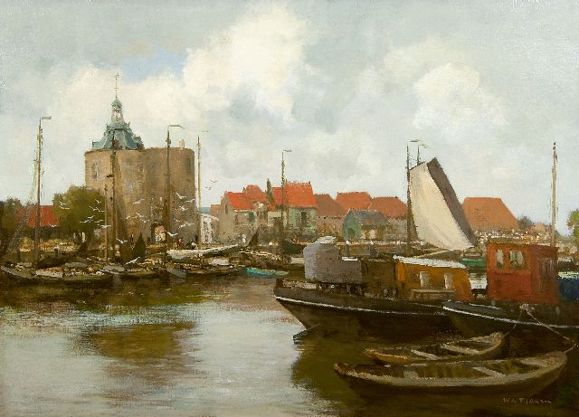 Willem George Frederik Jansen | The harbour of Enkhuizen with the Drommedaris tower, oil on canvas, 71.8 x 99.3 cm, signed l.r.