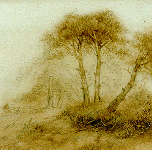 Andreas Schelfhout | A figure on a forest-path, sepia on paper, 16.3 x 16.7 cm, signed l.l.