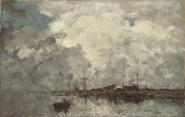 Jacob Maris | Wolk effekt, oil on canvas, 38.2 x 60.1 cm, signed l.r. and dated 1877