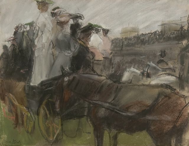Israels I.L.  | At the Longchamp races, Paris, pastel and pencil on paper, 30.5 x 40.0 cm, signed l.l. and executed ca. 1900