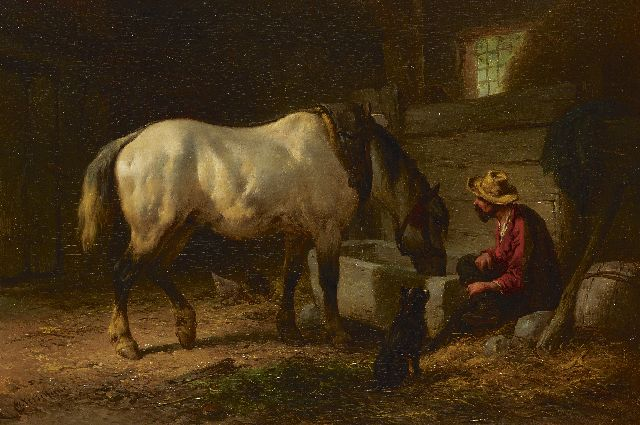 Wouterus Verschuur | Drinking from the water-trough, oil on panel, 23.0 x 33.5 cm, signed l.l.
