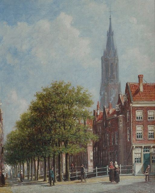Petrus Gerardus Vertin | A view of the Voldersgracht in Delft with the Nieuwe Kerk, oil on canvas, 26.0 x 32.0 cm, signed l.r.