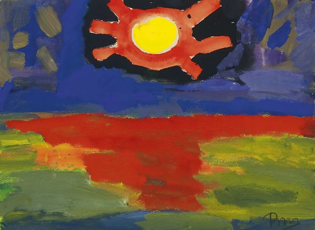 Gerrit Benner | Sunset, watercolour and gouache on paper, 55.6 x 75.4 cm, signed l.r.