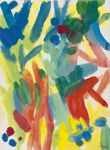 Gerrit Benner | Figures in the forest, acrylic on paper, 75.6 x 55.9 cm, signed l.r. and painted in 1960's
