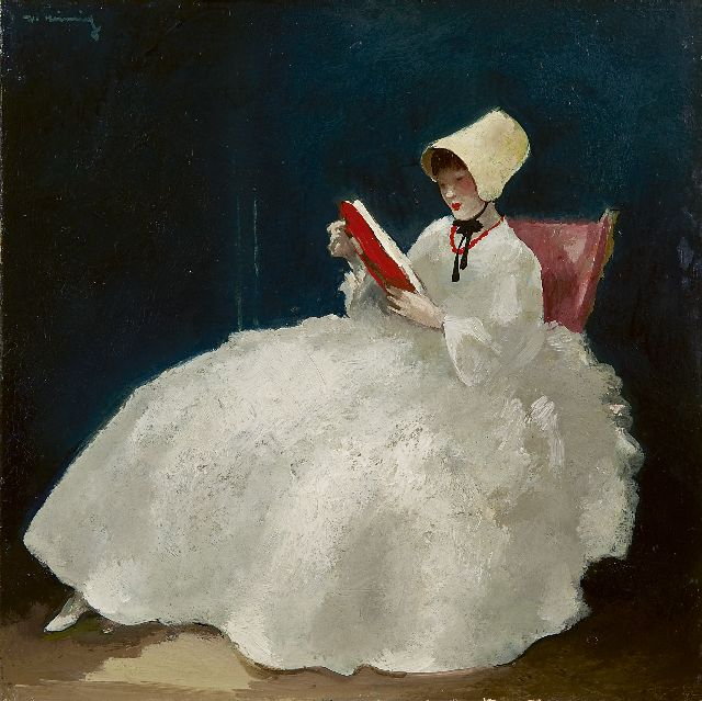 Walter Heimig | A girl reading with bonnet, oil on panel, 30.0 x 30.1 cm, signed u.l.