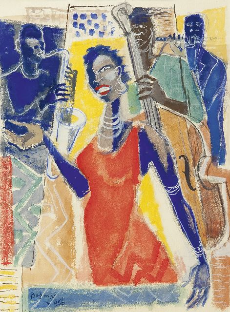 Wim Bosma | Sarah Vaughan and band, gouache on paper, 39.0 x 29.0 cm, signed l.l. and dated 1956