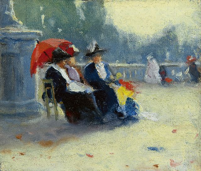 Walter Castle Keith | Friends in the Jardin du Luxembourg, oil on canvas laid down on panel, 9.8 x 11.4 cm, signed on the reverse and dated 1911 on the reverse