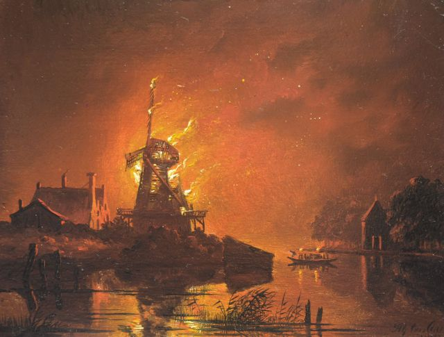 Cate H.G. ten | A windmill burning, by night, oil on panel, 13.8 x 18.3 cm, signed l.r. and indistinctly dated 184[8]