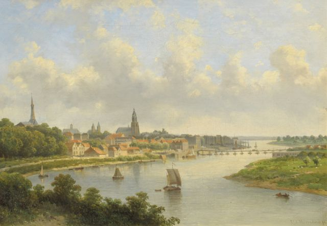 Johannes Jacobus Antonius Hilverdink | View of Arnhem, oil on canvas, 36.0 x 50.5 cm, signed l.r.
