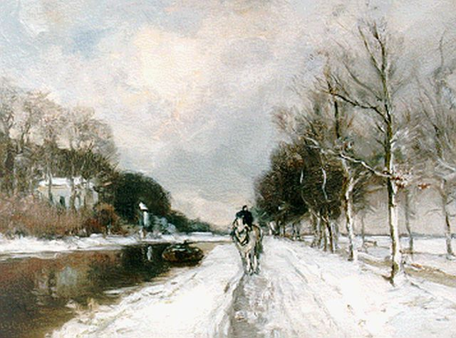 Louis Apol | Along a canal in winter, oil on panel, 24.8 x 33.5 cm, signed l.l.