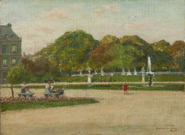 Gerard Johan Staller | Jardin du Luxembourg, Paris, oil on canvas laid down on panel, 35.8 x 48.2 cm, signed l.r.