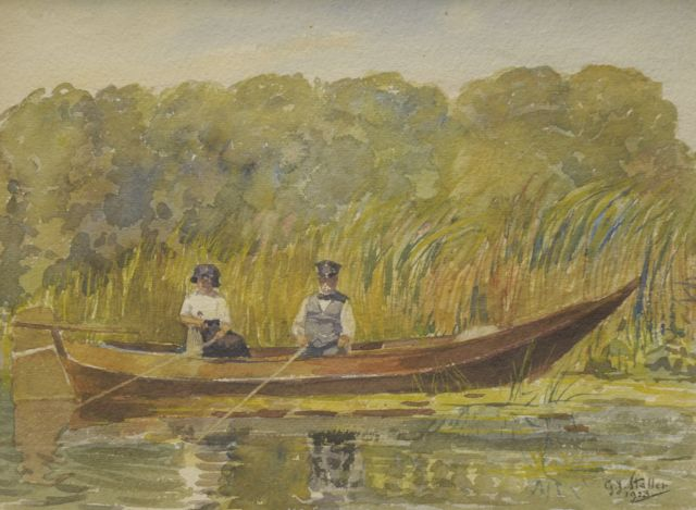 Gerard Johan Staller | A couple, fishing in a rowing boat, watercolour on paper, 22.4 x 29.9 cm, signed l.r. and dated 1923