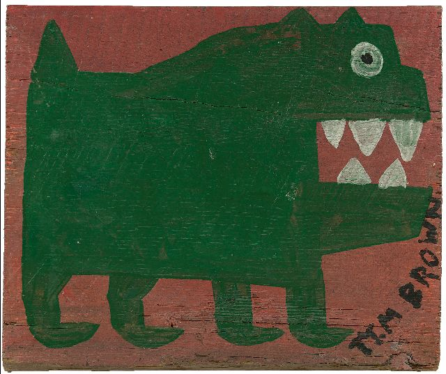 Brown T.  | Green dog, oil on panel 34.0 x 39.2 cm, signed l.r. and painted ca. 1960-1970