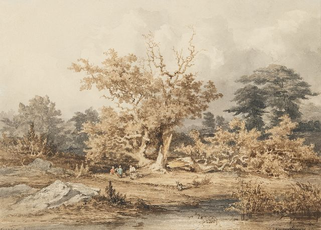 Kuytenbrouwer II M.A.  | View of a pond in Fontainebleau forest, brown ink, black chalk and watercolour on paper 24.6 x 34.0 cm, signed l.r.