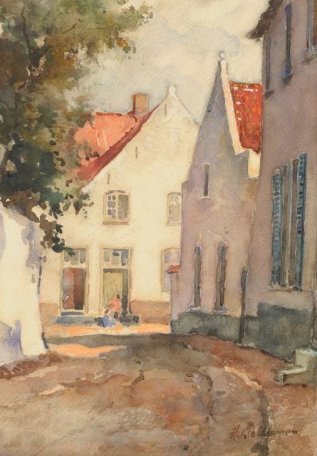 'Hugo' Nicolaas Polderman | A sunlit street in a Dutch town, watercolour on paper, 26.5 x 19.4 cm, signed l.r.