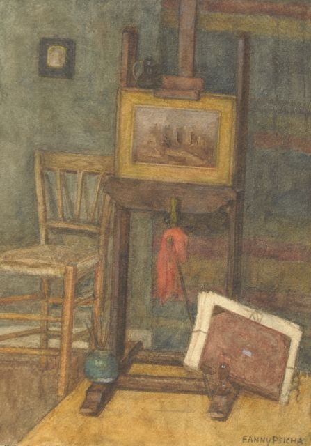 Psicha (Maria Adeline Alice Schweistal)   | Workshop corner, watercolour on paper 35.4 x 25.0 cm, signed l.r. with pseudonym 'Fanny Psicha'
