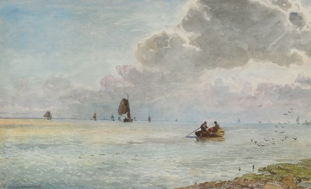 Willem van Deventer | Shipping off the coast, watercolour on paper, 35.6 x 58.5 cm, signed l.l.