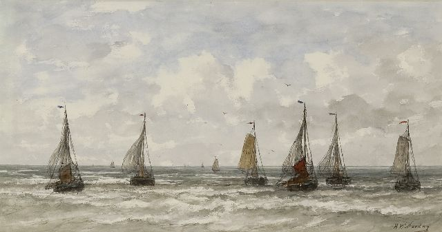Mesdag H.W.  | Sailing vessels in the breakers, watercolour and gouache on paper 34.7 x 65.7 cm, signed l.r.