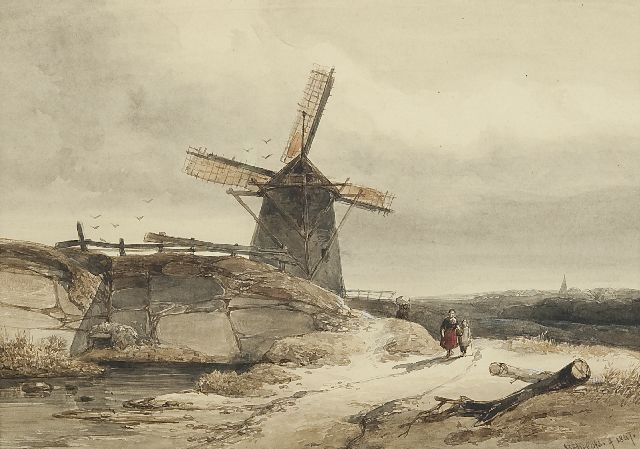 Roelofs W.  | A windmill in a hilly landscape, ink and watercolour on paper, 19.9 x 28.0 cm, signed l.r. and dated 1847