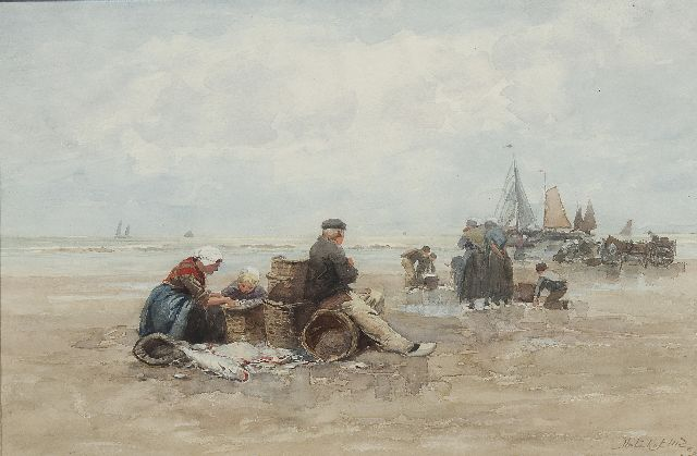 Johannes Marius ten Kate | Fishermen on the beach of Scheveningen, watercolour and oil on paper, 29.8 x 45.2 cm, signed l.r.
