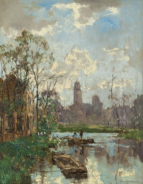 Johan Hendrik van Mastenbroek | View of a canal, oil on canvas, 34.9 x 27.4 cm, signed l.r. and dated 1921