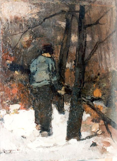 Frans Langeveld | Gathering wood, oil on panel, 18.7 x 13.8 cm, signed l.l.