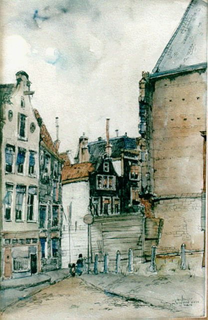 Jan den Hengst | The 'Oude Kerk' square, Amsterdam, mixed media on paper, 51.0 x 33.0 cm, signed l.r.