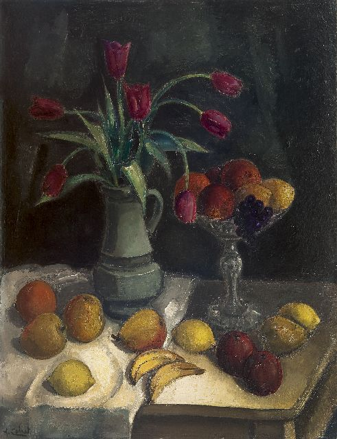 Arnout Colnot | A still life with fruit and tulips on a table, oil on canvas, 92.2 x 70.4 cm, signed l.l.