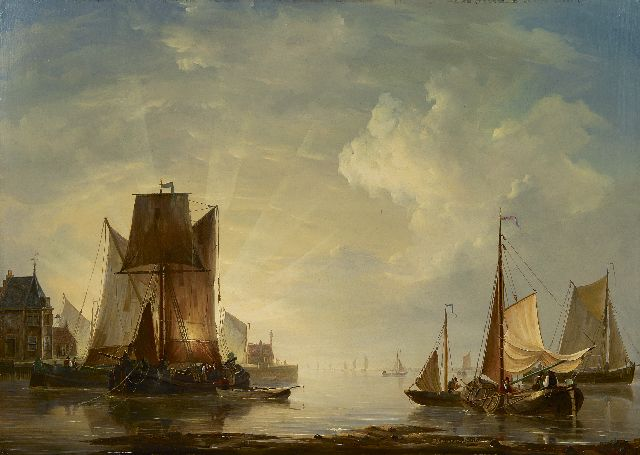 Frans Jacobus van den Blijk | Sunset in the harbour, oil on panel, 58.9 x 83.2 cm, signed l.c.
