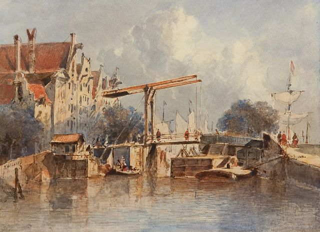 Antonie Waldorp | A view of a Dutch town with a lock, watercolour on paper, 16.9 x 23.0 cm, signed c.l.