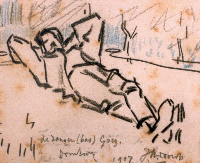 Toorop J.Th.  | The singer (Bas) Görz, Domburg, chalk on paper, 9.5 x 10.5 cm, signed l.r. and dated '07