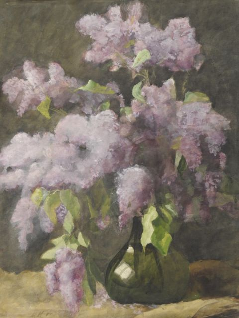 Heineken M.  | Lilacs in a green vase, watercolour on paper 65.3 x 50.3 cm, signed l.l. with initials and dated '85