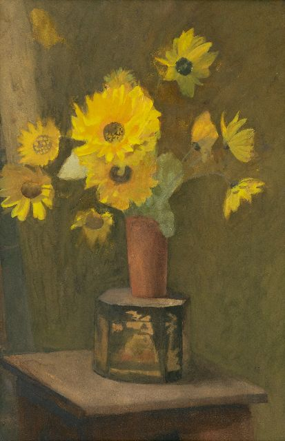Marie Heineken | A still life with Helianthus tuberoses, watercolour on paper, 50.7 x 32.0 cm
