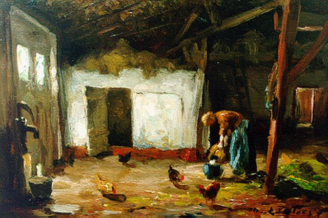 Evert Pieters | Feeding the chickens, oil on panel, 14.5 x 21.5 cm, signed l.r.