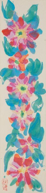 Vijlbrief E.  | Flowers, watercolour on Japanese paper on cardboard 125.6 x 29.5 cm, signed l.l. with monogramstamp and artist's stamp